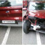 अनियंत्रित कार का हुआ एक्सीडेंट, चालक घायल।